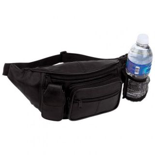 New Black Solid Leather Fanny Pack Travel Waist Belt Bag Pouch Cell