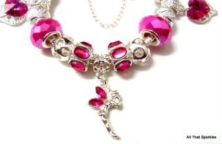 Fairy Angel Fuschia Swarovski Crystal Charm Bead Bracelet