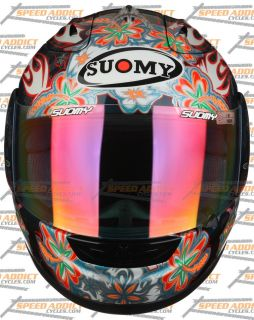 Suomy Excel Spec 1R Extreme Black Flowers Full Face Motorcycle Helmet