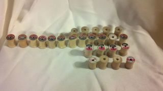 Vintage Small Wooden Spools Without Thread Lot of 25 Various Brands