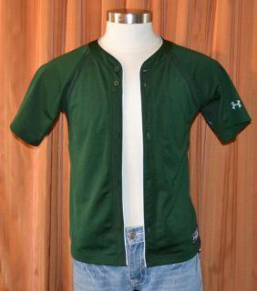 Under Armour Short Sleeve Green Baseball Practice Jersey Shirt Youth