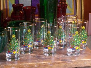 Vintage Cuthbertson England Hi ball Glasses Colorful Christmas Tree