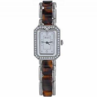 Brighton Encino Womens Silver Brown Tortoise Watch w Gift Tin W4079A