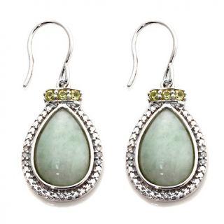 197 449 sterling silver pear shaped green jade and peridot drop