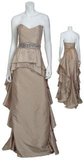 Marvelous Strapless Gold Rhinestone Belted Gown Eve Dress 14 New