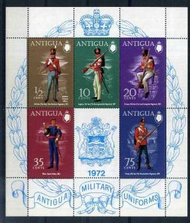 military uniforms antigua s s mnh mint never hinged souvenir sheet