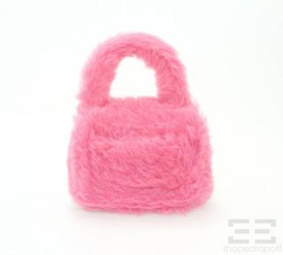 Chanel Hot Pink Small Faux Fur Handbag New