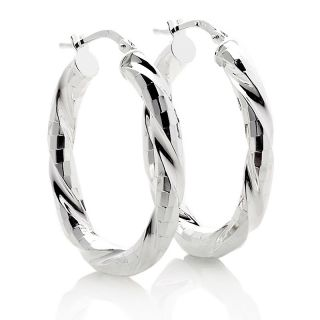 202 436 italian silver sterling silver diamond cut twist hoop earrings