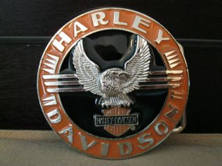 New Harley Davidson Motor Cycles belt buckle orange black classic