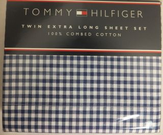 Tommy Hilfiger TWIN Extra Long Sheet Set 100% Combed Cotton Blue/White