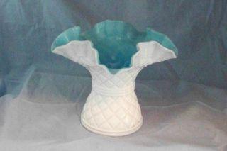 Fenton Diamond Lace Milk Glass Outside Blue Inside Vase