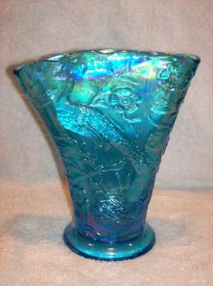 Fenton Celeste Glass Blue Carnival Fan Peacock Vase