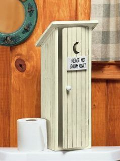 Rustic Outhouse Wooden Wood Toilet Paper Holder Bath Bathroom