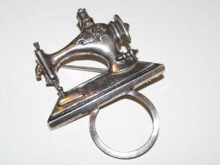 Vintage Sterling Eyeglass Holder Pin   Eye Glass Loop Brooch Sewing