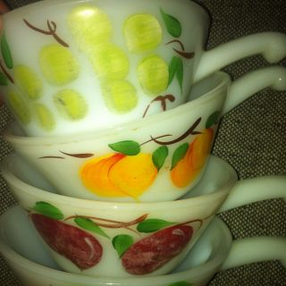 vtg 50s 60s glasbake handle soup chili bowl white milk glass Painted 4