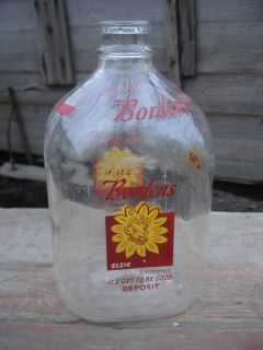 Large Vintage 1 Gallon Bordens Glass Elsie the Cow Milk Bottle ~Old