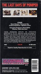 VHS LAST DAYS OF POMPEII.STEVE REEVES .FERNANDO REY