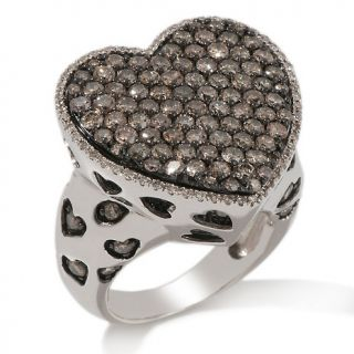 47ct Champagne and White Diamond Sterling Silver Heart Ring