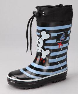 HENRY FERRERA kids baby RAIN BOOTS pirate skull blue black stripe SIZE