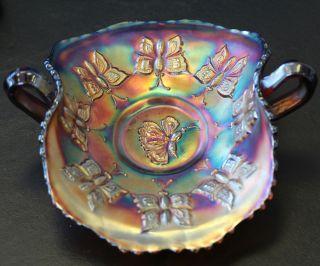 Beautiful Fenton Carnival Glass Amethyst Butterfly Pattern Bon Bon
