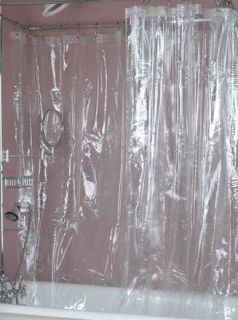 Clear Vinyl Shower Curtain 10 Gauge Hotel Weight Extra Long 72 x 84