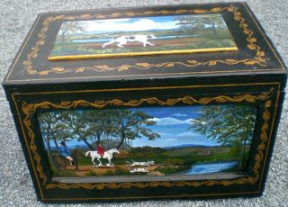 Vintage Hand Painted Equestrian Hunt Tack Trunk