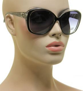 Brand New DG Shoe Lace Design Cat Eye Womens Sunglasses Black Clear