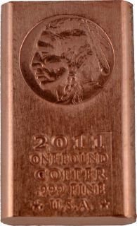 Pound lb Copper Bullion Indian Head Bar 999 Fine Buy 5 Free SHIP