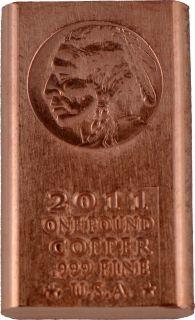 Pound lb Copper Bullion Indian Head Bar 999 Fine Buy 5 Free SHIP