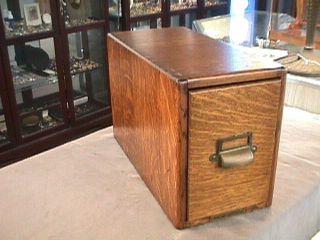 Antique Yawman Erbe Oak One Drawer File Cabinet Dove Tail