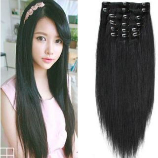 8pcs Full Head Set 1pcs 5 Clips in Hair Extensions Synthetic Straight