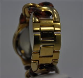 Ladies Michael Kors Chain Link Acrylic Gold Tone Chronograph Watch