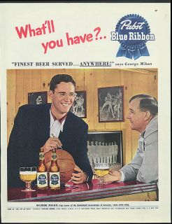 Minneapolis Lakers George Mikan for Pabst Blue Ribbon Beer ad 1950