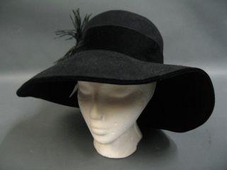 Eric Javits Wide Brim Black Felt Hat Size M