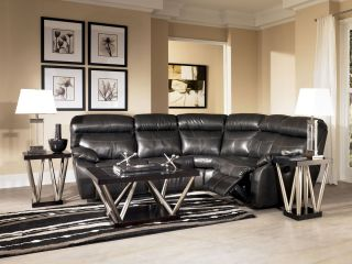 FABRICE BLACK BONDED LEATHER RECLINER SOFA COUCH SECTIONAL SET LIVING