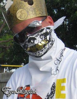 White Skull Face Bandana Face Urban Mask Gold Grill Cod
