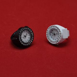 2pc Crystal Lady Men Finger Ring Wrist Watch Clock