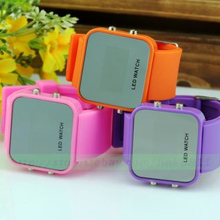 Classical 12 Mini Color Mirror Face LED Silicone Men Lady Sport Watch