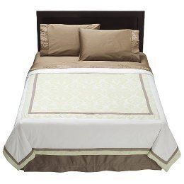 Fieldcrest Luxury White Green Jackquard King Duvet