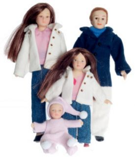 Contemporary Porcelain Doll Family People Dad Mom Girl Baby