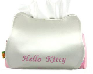 Hello Kitty artificial PU leather Plush Tissue Paper Box Cover Holder