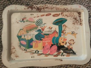 Vintage 1961 metal Disney tray Donald Chip Dale Pluto Goofy train No