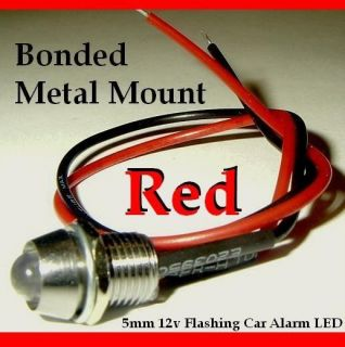 12V Red Flashing Dummy Fake Car Alarm LED Light Dash Mount Metal
