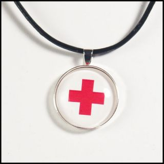 Nurse Doctor Pendant Necklace First Aid Red Cross Help