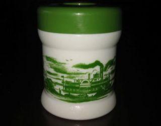 Vtg Milk Glass Canister Jar w Lid White Green Design Steamboat Paddle