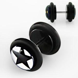 Black Illusion Punk Goth Fake Plug Earring Pair Star Skull Crossbone w