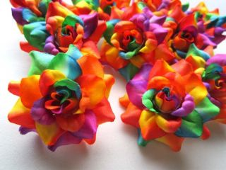 24x Rainbow Rose Artificial Silk Flower Heads Lot 1 75 for Wedding