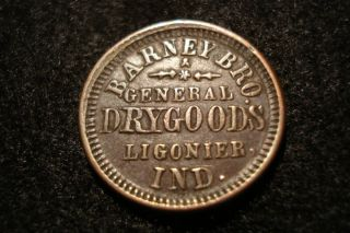 1863 CIVIL WAR STORE CARD TOKEN BARNEY BRO. GENERAL DRY GOODS LIGONIER