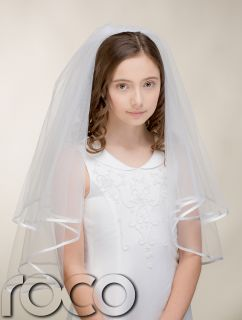 Girls White Traditional First Holy Communion Veil Cross Embroidered