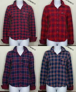 Hollister Womens Fallbrook Plaid Button Down Shirt New